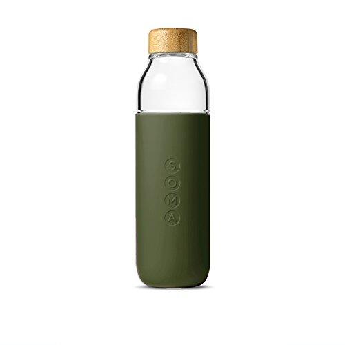Soma - Bouteille d'eau en verre avec manchon de protection facile à prendre en main - Beige (Blush), 301-15-01, vert olive