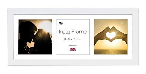 Inov8 Insta-Frame Kayla Bilderrahmen 53 cm x 20 cm (21 x 8 Zoll) aus Treibholz für 3Instagram-Fotos/quadratische Fotos mit weißes Passepartout und weißem Einsatz, Weiß