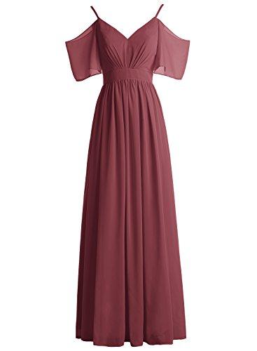 Bbonlinedress Robe de soirée et de demoiselle d'honneur légère plissée manches chauve-souris bretelles spaghettis longueur ras du sol en mousseline Bordeaux