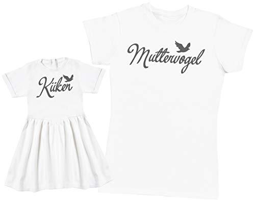 Küken Mädchen T-shirt (Zarlivia Clothing Küken/Muttervogel - Passende Mutter Baby Geschenk Set - Damen T-Shirt & Baby Mädchen Kleid - Weiß - L & 1-2 Jahre)