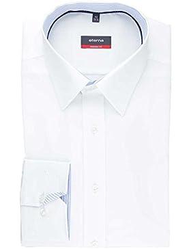 ETERNA Herren Langarm Hemd Modern Fit Fein Oxford weiß mit Patch 8207.00.X148