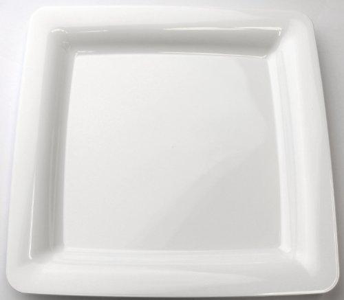 MOZAIK Piatti di plastica quadrati bianchi da 23 cm, 20 pezzi