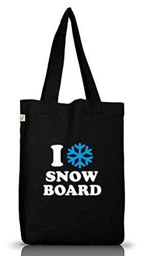 Shirtstreet24, I LOVE SNOWBOARD, Apres Ski Jutebeutel Stoff Tasche Earth Positive (ONE SIZE) Black