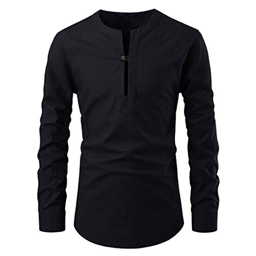 Button Down Long Sleeve Henley (Innerternet Herren Hemd T-Shirt Herren Stehkragen Langarm Langarmshirt Slim Fit Bluse Knopfleiste mit Grandad-Ausschnitt Longsleeve Shirt Henley Sommer Shirt für Männer)