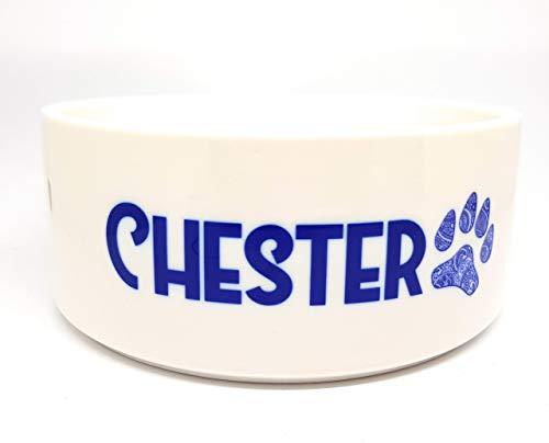Hundenapf aus Keramik mit dem Namen ihres Hundes personalisiert und einer filigranen Hundepfote, in zwei Größen