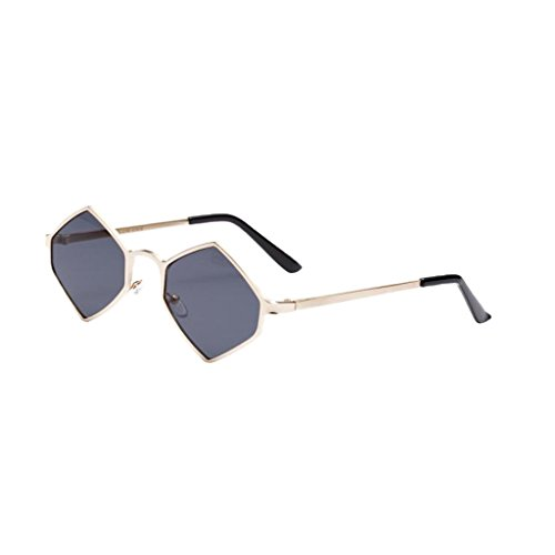 MagiDeal Damen Herren Sonnenbrille Rhombus Kleine Sonnenbrillen polarisierten Brille Kunststoff UV-Schutz Gläser Linse für Party Freizeit - grau