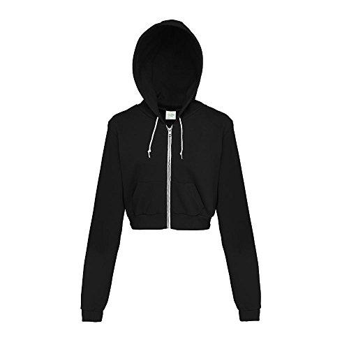 Just Hoods - Bauchfreie Kapuzenjacke für Damen / Jet Black, S Kapuzen Sport Jacke