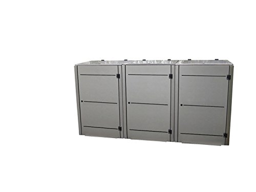 Mültonnenunterstand Edelstahl, Modell Eleganza Line3, 120 Liter als Dreierbox - 3