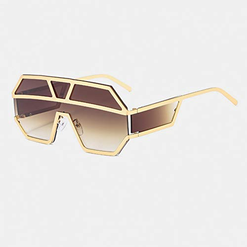SYQA Sonnenbrille Übergroße Sonnenbrille Herren Marke Vintage Rivet Sonnenbrille Herren Randlose Skibrille Schwarz Shield Sonnenbrille,C2