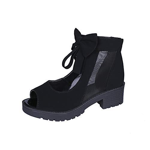 Uhrtimee Bow Mesh Martin Boots Weibliche Flache Unterseite Mit 2019 Sommer Neue koreanische Version der rutschfesten, hoch geschnittenen coolen Schuhe Fischmaul, 40, schwarz Open-back Ankle Boots