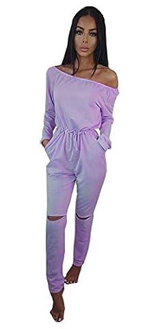 ALAIX Women's off-Shoulder Bodycon Knee Hole Pants Party Club Jumpsuits