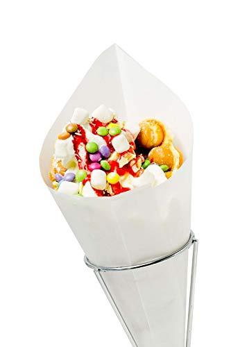 """Spitztüten \""""Pommes\"""" 125g Waffeln, Mandeln, Schmalzkuchen CandyBar, Imbiss- und Partyzubehör Größe 100 Stück"""