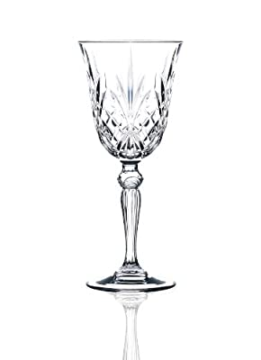 Set of 6 Italian Crystal White Wine Glasses,