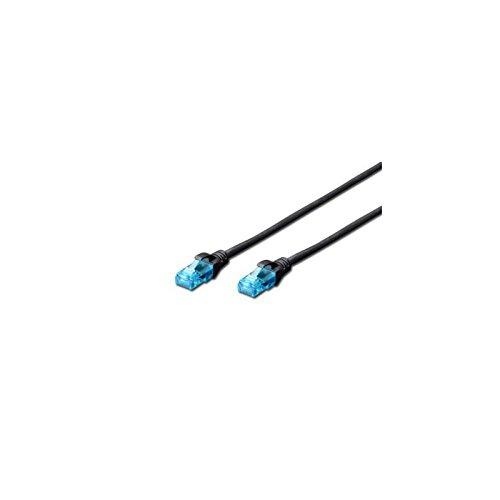 Bl Cat6 Patch (DIGITUS Patch-Kabel CAT-5-E U-UTP 0, 5-m - Schwarz - Netzwerk-Kabel Ethernet-Kabel DSL Router - PVC - CCA - AWG 26/7)