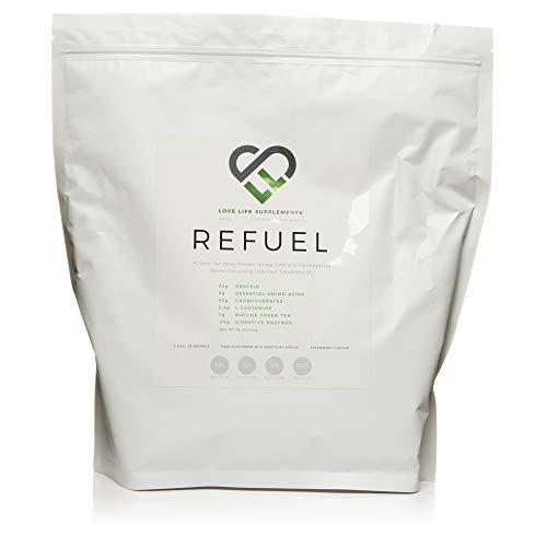 REFUEL Protein Isolat für nach dem Training und Kohlehydrat-Mischung von LLS | 2.42kg - 30 Portionen | 22g Eiweiß | 43g schnell absorbierbare Kohlehydrate | mit EAA's, L-Glutamin und Matcha Grüntee