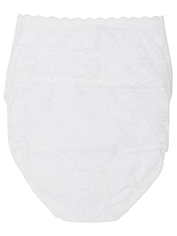 M&Co Ladies Plain Classic Cotton Rich Lace Trim Everyday Full Brief - 3 Pack Multipack White 18/20