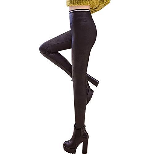 GDRFHJZ Neue Gothic High Waist Crack Pu Leder Leggings Damen Herbst Winter Punk Matte Fleece Dicke Legging Bleistifthosen