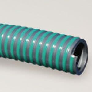 PVC Spiralsaug- und Druckschlauch Typ ECOPLEX-SUPERELASTIC, Farbe grau mit grünen Streifen, Rolle 30 Meter d 90 x 30 m mm