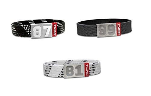 BRAYCE Eishockey-Armband mit Deiner Nummer 00-99 (Trikotnummer, Spielernummer, Glückszahl) im Hockey-Style (Puck & Schnürsenkel): Der Schmuck für DEL, DEL2 & NHL...