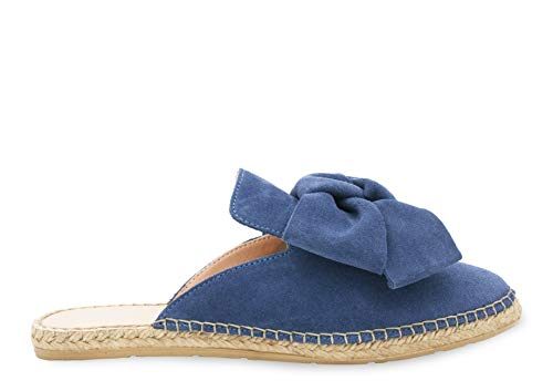 MANEBI Goat Suede Mules with Bow Womens Espadrilles 37 EU Jeans -