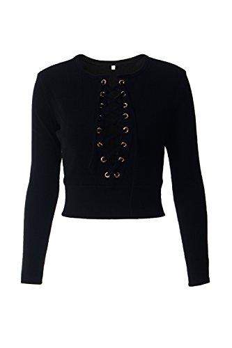 Le Donne Si Allaccia Al Collo Lo Scollo A V A Maniche Lunghe Per T - Shirt Maglietta Attillata. Black