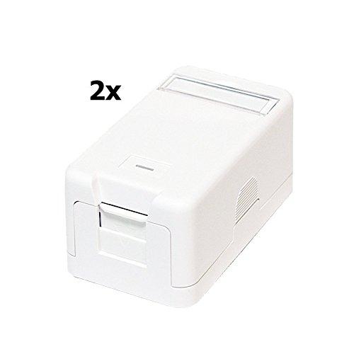 Faconet® 2x Aufputzdose für Keystone Jacks z.B. RJ45 Lan Netzwerk, USB oder Koax (Aufputzdose 1fach)