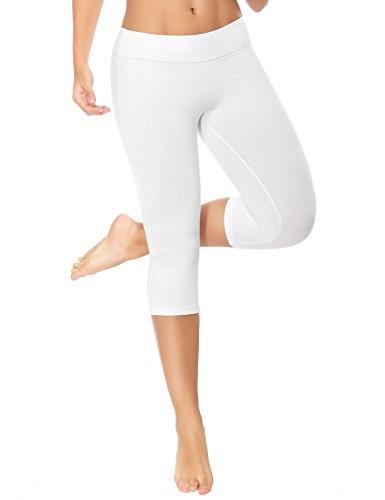 WingsLove Damen Capris Yoga Sporthose Laufenhose 3/4 Leggings Training Sport Strumpfhosen(Weiß,L) -