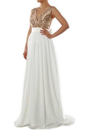 MACloth Women V Neck Sequin Long Prom Dress Wedding Party Formal Evening Gown (EU52, Rose Gold Ivory)