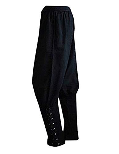 Swanbuy Herren Knöchelbänder Hosen Mittelalter Wikinger Navigator Piraten Kostüm Hosen Renaissance Gothic Hosen