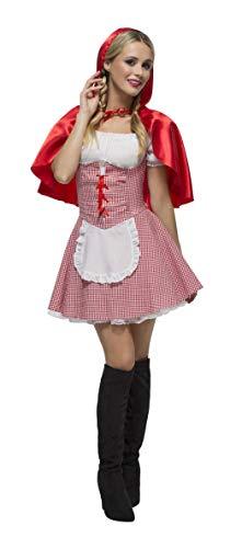 Fever Damen Rotkäppchen Kostüm, Kleid, Unterrock und Umhang, Größe: S, 27043 (Rotkäppchen Wolf Kostüme Und Der)