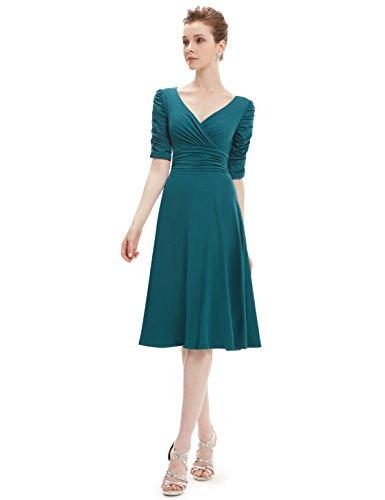 Ever Pretty Damen V-Ausschnitt 3/4 Arm Knielang Cocktail Kleid 03632 Dunkelgruen