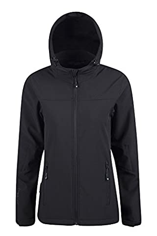 Mountain Warehouse Exodus Women's Water Resistant Soft-shell Jacket - Breathable, Scooped Back, Water Resistant with Adjustable Hem, Cuffs & Hood - Great for Daily Use Black
