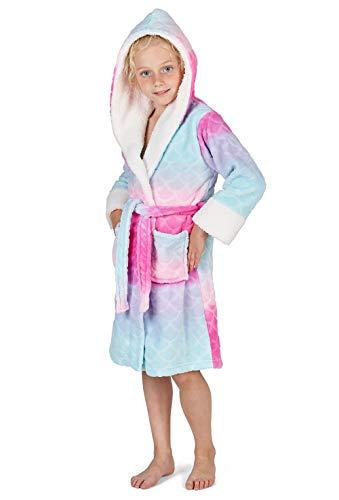 CityComfort Fleece Bademantel mit Kapuze für Kinder | Kinderbademäntel für Mädchen & Jungen | Einhorn, Katze, Meerjungfrau, Morgenmantel Nacht Lounge Wear | Einhorn Geschenke (9/10 Jahre, Regenbogen)
