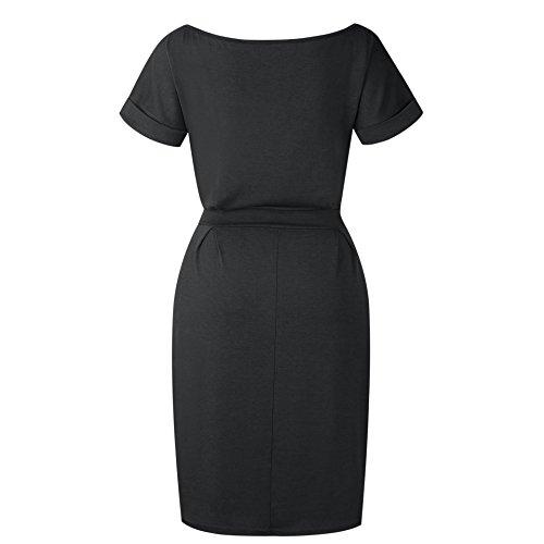 Vruan Sommerkleider für Frauen Kurzarm Taschen Casual Swing T-Shirt Frauen Tag Kleid Frauen 5 Farbe Größe 32-40