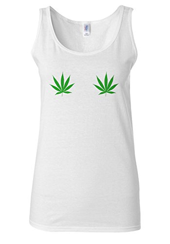 Weed Leaf Boobs Funny Eyes Cool White Women Vest Tank Top **Blanc