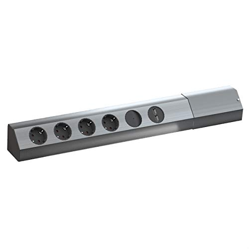 BACHMANN CASIA 4x Schutzkontakt, Schalter, USB-Charger, Edelstahl -