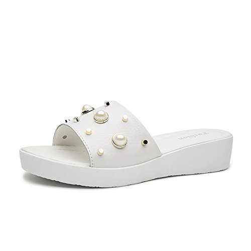 Frau-Sommer-Lederpantoffel-Bequeme Rutschfeste Schleppseil-Einfache Strand-Hefterzufuhren Flache Ferse-Starke Sole Wear Pearl Sandals, Weiß, 38 (Ferse Pearl)