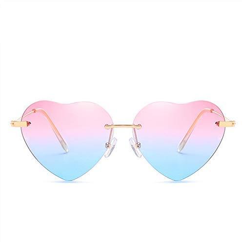 ZHAS High-End-Brille Herzförmige Sonnenbrille Metall Damenmode Randlos Durchsichtig Ocean Gläser Sonnenbrille Uv400 Personalisierte High-End-Sonnenbrille PINKBLUE
