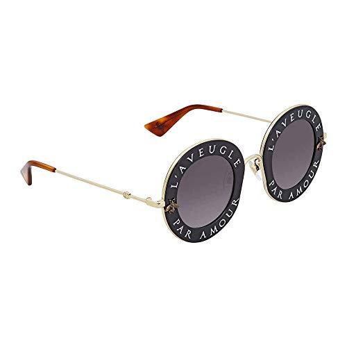 Gucci gg0113s 001 occhiali da sole, nero (black/grey), 44 donna