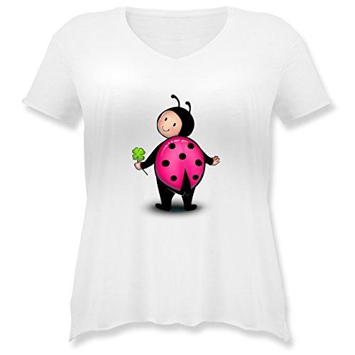 Karneval & Fasching - Marienkäfer - S (44) - Weiß - JHK603 - Weit geschnittenes Damen Shirt in großen Größen mit (Size Marienkäfer Kostüme Plus)