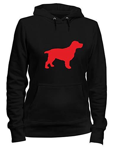 Kapuzen-Sweatshirt Frauen Schwarz WES066037 Silhouette A Cocker Spaniel Dog A Wall Art Sticker IN 4 Sizes & 24 Colours Cocker Spaniel T-shirt Sweatshirt