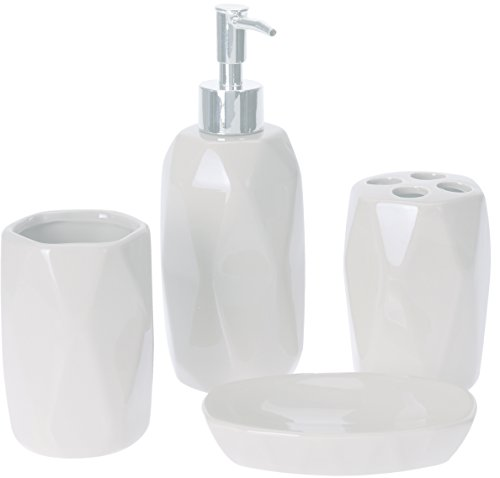 Luxus 4 Sets Acryl Badezimmer Zubehör Set Diamant besetzt Dekoration Set … (Weiß, Dolimote)