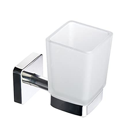 Kapitan Quattro Wall Mounted Toothbrush Holder, 3M Self Adhesive Bathroom Tumbler, Square Style Glass, Stainless Steel AISI 304 18/10, Polished Finish, Made in EU, 20 Years Warranty