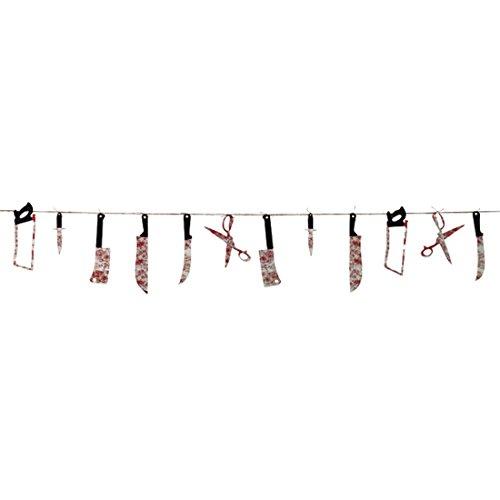 Blutige Werkzeuge Messer Säge Schere 2,3 m Horror Folter Werkzeug Kette Halloween Girlande Halloweendekoration gruselig Horror Party Raumdeko Halloweenparty Dekokette