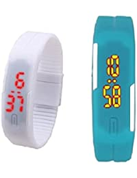 RTimes Sky Blue and White Unisex Multicolor Set of 2 Digital Rubber Jelly Slim Silicone Sports Led Smart Band Watch for Boys, Girls, Men, Women, Kids