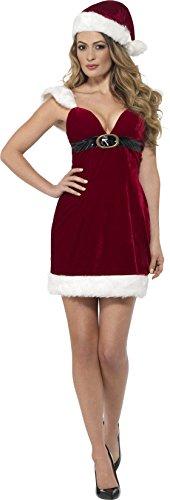 Smiffy's 46750M - Damen Miss Santa Claus Kostüm, Kleid und Hut, Größe: 40-42, rot (Hut Von Santa Claus)