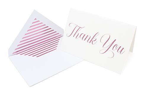 Premium Dankeskarten und Umschläge, Metallic-Foliendruck, 20 Stück, 10 x 15 cm, für Hochzeiten, Abschlussfeiern, Babypartys rose gold (Für Sympathie-karten Danke Die)