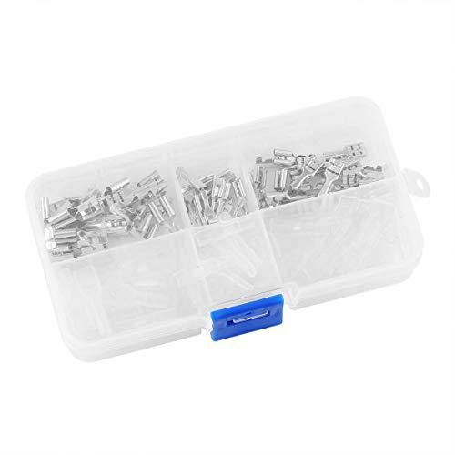Heaviesk 120 Stücke 2,8mm 4,8mm 6,3mm Crimp-anschlüsse Spaten-anschlüsse Isolierhülse Kit Terminals mit Klarsichtbox - Crimp-anschlüsse