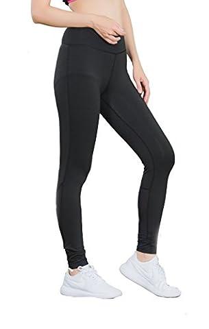 Sport Leggings Damen Yoga Pants Strumpfhose Active Fitness Tights Running Workout Hosen- Gr. S, Schwarz