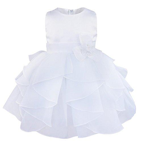 iixpin Mädchen Partykleid Baby Prinzessin Ärmellos Organza Blumenmädchenkleid Tutu Taufkleid mit Abnehmbarer Blume Brosche Hochzeit Festzug Weiß 62-68(Nr. 60)
